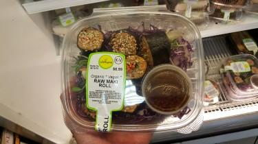 Sushi vegano do Lifethyme; em Nova York, há diversos restaurantes que servem esse tipo de prato, incluindo um especializado chamado Beyond Sushi