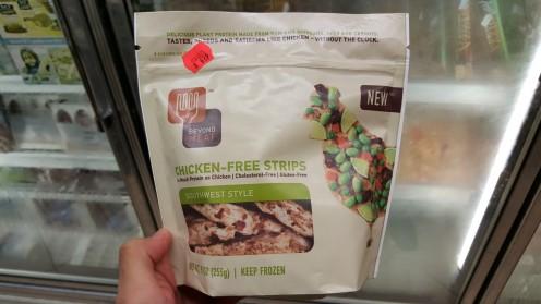 Um recentemente lançado pacote de proteína vegetal da Beyond Meat, cujo objetivo é imitar perfeitamente carne de frango